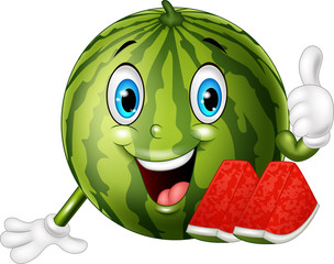 Cartoon watermelon giving thumbs up