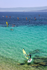 windsurfing on Adriatic sea, Croatia, Brac island