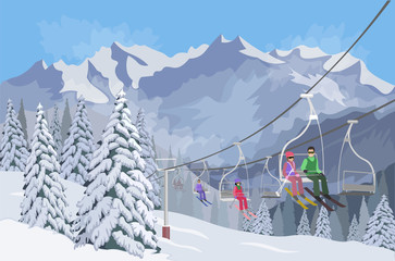 Winter mountain landscape. Lifts for skiing. Vector