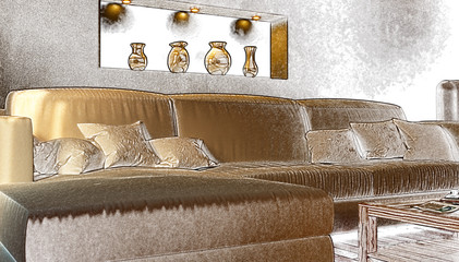 Part of the interior a living room with a white sofa. Stylization. 3d illustration