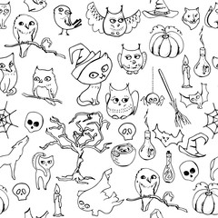 Seamless halloween pattern with different animals. Contour,black and white.