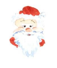 Santa Claus smiling, sticker, icon, trade mark. Watercolor