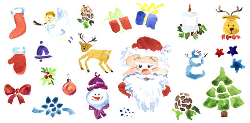 Set of Christmas illustration for decor. Watercolor technique