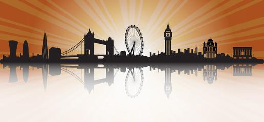 London Skyline Silhouette Sunset