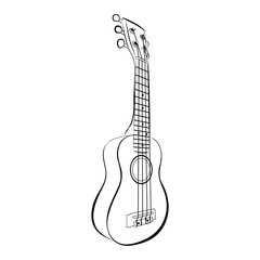 Ukulele guitar, cartoon vector and illustration, black and white, hand drawn, sketch style, isolated on white background.