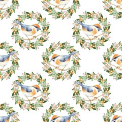 Seamless pattern with bird and floral wreath. Watercolor painting. Beautiful background 1