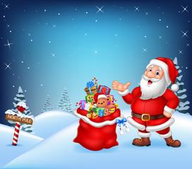 Cartoon Santa Claus with bag full of gift