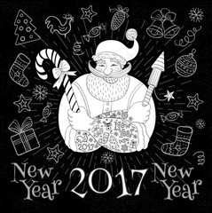 New Year in sketch style. Hipster tattooed Santa Claus. Christmas party, Funny cartoon, character, candy, firecracker, fireworks, chalk, blackboard. Hand drawn vector illustration