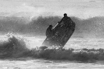 Rescue boat tackling the waves