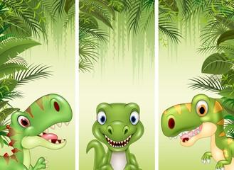 Set of three cartoon dinosaur