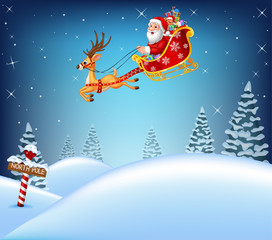 Happy Santa Calaus in his sled pulled by reindeer