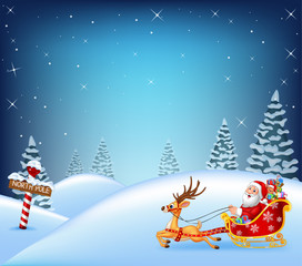 Happy Santa in his sled pulled by reindeer