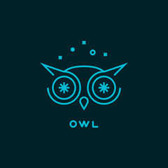 Vector outline owl logo with stars. Design template