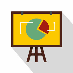 Flip chart with statistics icon. Flat illustration of flip chart with statistics vector icon for web
