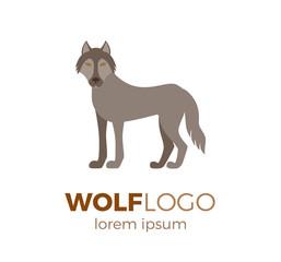 Flat vector wolf logo