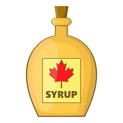 Bottle of maple syrup icon. Cartoon illustration of bottle of maple syrup vector icon for web