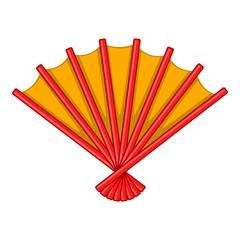 Japanese folding fan icon. Cartoon illustration of japanese folding fan vector icon for web