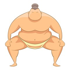 Sumo wrestler icon. Cartoon illustration of sumo wrestler vector icon for web