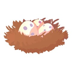 Nest with eggs icon. Cartoon illustration of nest with eggs vector icon for web design