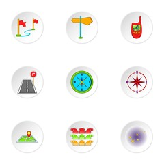 Location icons set. Cartoon illustration of 9 location vector icons for web