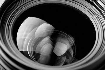 lens reflection black and white photo
