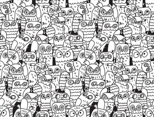 Owls birds group black and white seamless pattern.