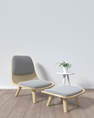 Mock up chair in room white background Modern Style,3D rendering