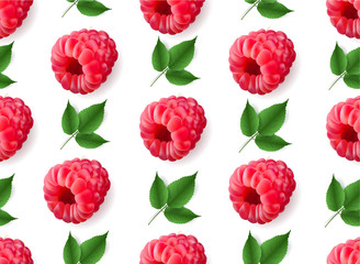 Vector realistic raspberry with mint leaves seamless pattern isolated.