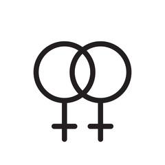 Lesbian gender symbol. line icon, outline vector logo illustration, linear pictogram isolated on white