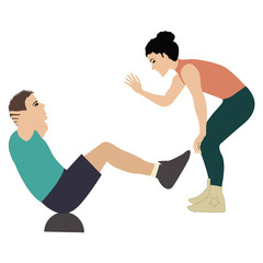 girl fitness instructor holds training session man shakes the press insulated by on white background vector illustration