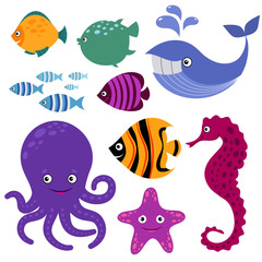 Cute vector sea creatures. Cartoon smiling animals