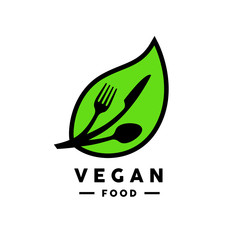 Vegan food logo with abstract green and black leaf and fork, knife and spoon icon. Vector illustration.