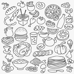Doodle food icons. Vector hand drawn set