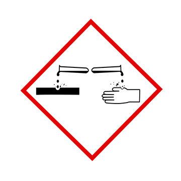 Panneau attention produits corrosif