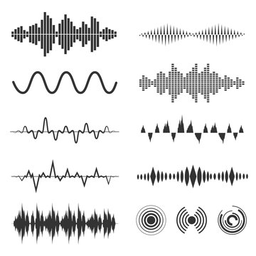 Signal wave set. Vector analog signals and digital sound waves forms