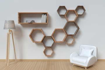 The living room is designed with a sofa and Shelf hexagonal,3D rendering
