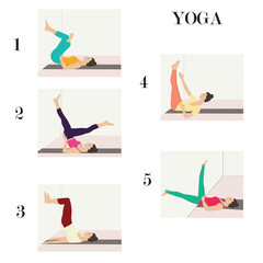 complex set of yoga stretching exercises at the wall woman isolated white background vector