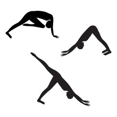 sketch sport yoga silhouette three elements of stretching exercises isolated on white background vector