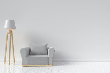 The interior has a Sofa Round and lamp on empty white wall background,3D rendering
