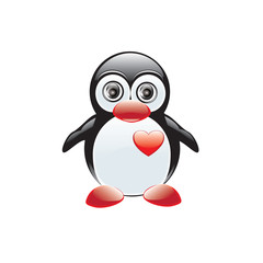 Penguin toy red heart isolated on white background art creative vector element for design