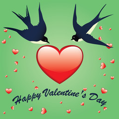 Happy Valentine's Day swallows flying glass red big heart and little hearts light green background vector art illustration