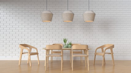 Working and Dining set Modern on white background,3D rendering