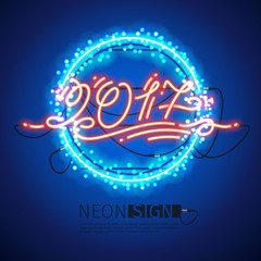 New Year 2017 Neon Sign with Lights