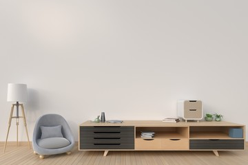 Cabinet with sofa and lamp on background dark color,3D rendering