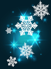 Turquoise sparkling background with snowflakes. Christmas card