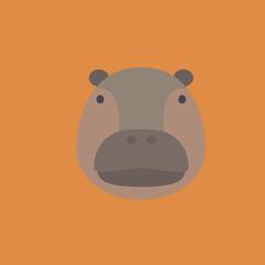 hippo icon. flat design
