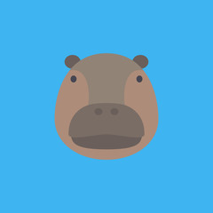 hippo icon. flat design