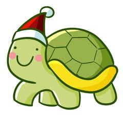 Cute and funny turtle wearing Santa's hat for christmas - vector.