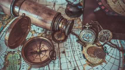 Old pirate compass  collections. (vintage style)