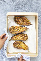 Roasted Aubergine in a Baking Tray